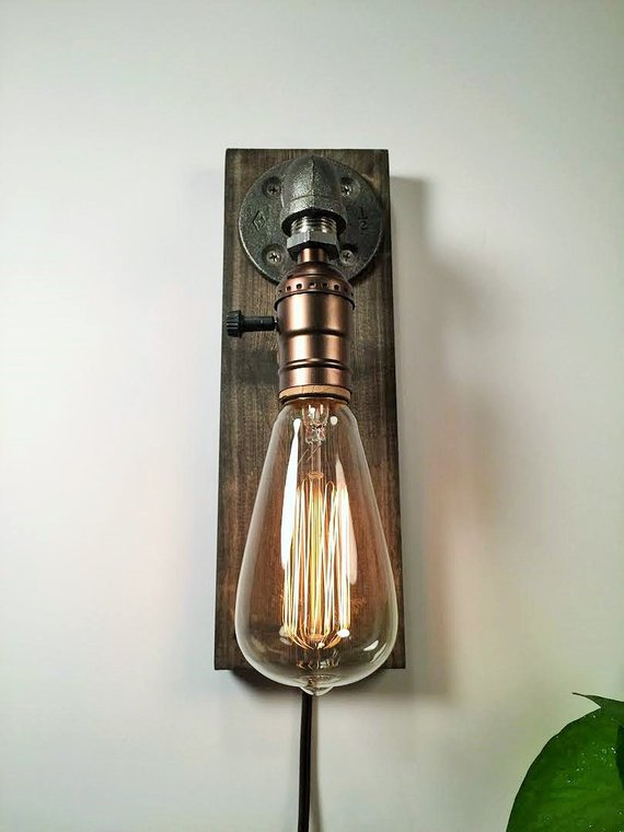 Plug in Wall Sconce Lamp-Rustic - Interior Of Mine